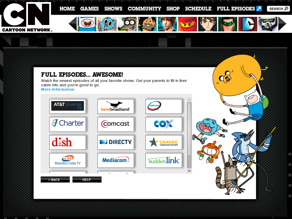 Cartoon Network subscribers only screenshot